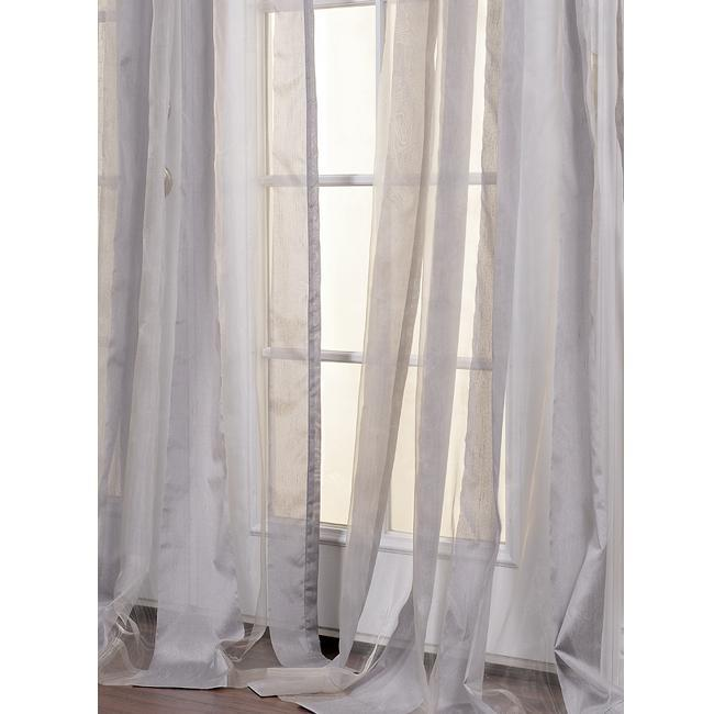 Exclusive Fabrics Light Grey Striped 96-inch Sheer Curtain Panel