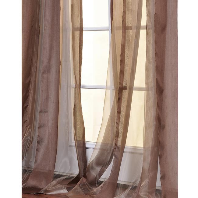 Exclusive Fabrics Jamocha Striped 108-inch Sheer Curtain Panel - Thumbnail 0