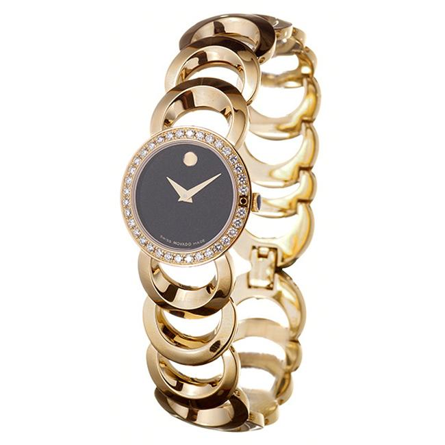 Movado Women's 'Rondiro' Yellow Goldplated Steel Quartz Diamond Watch
