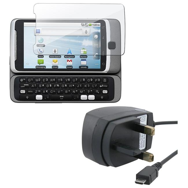 Insten UK Travel Charger wth Screen Protector for HTC Desire Z