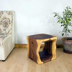Monkey Pod Wood 16-inch Cube End Table (Thailand)