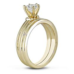 Miadora 14k Yellow Gold 1/2ct TDW Diamond Bridal Ring Set (G-H, SI1-SI2) - Thumbnail 1