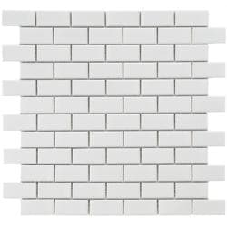Thumbnail 1, Somertile Victorian Subway White Porcelain Mosaic Tiles (Pack of 10).