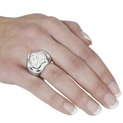 Journee Collection Stainless Steel White Enamel Pave-set CZ Ring - Thumbnail 2