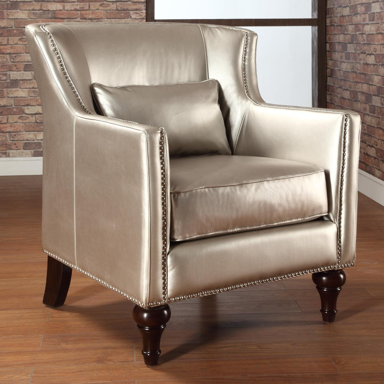 Trenton Gold Metallic Silver Arm Chair Free Shipping