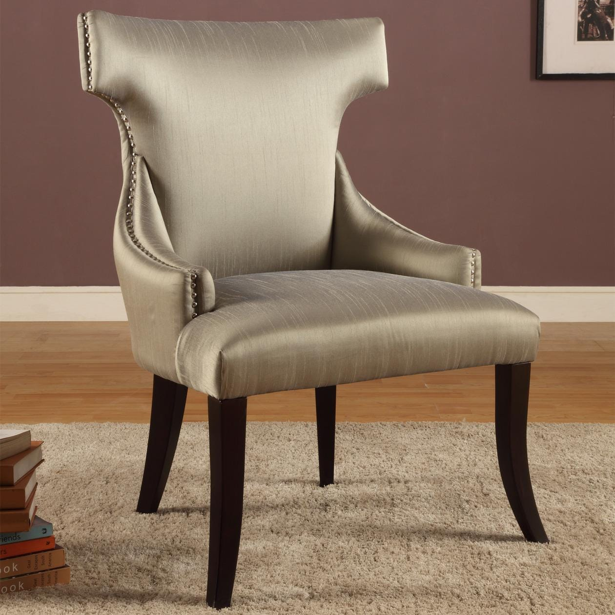 Shop Trenton Grey Synthetic Silk Accent Armless Chair