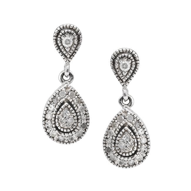 10k Gold 1/4ct TDW Diamond Vintage Pear-shaped Earrings (I-J,I2-I3)