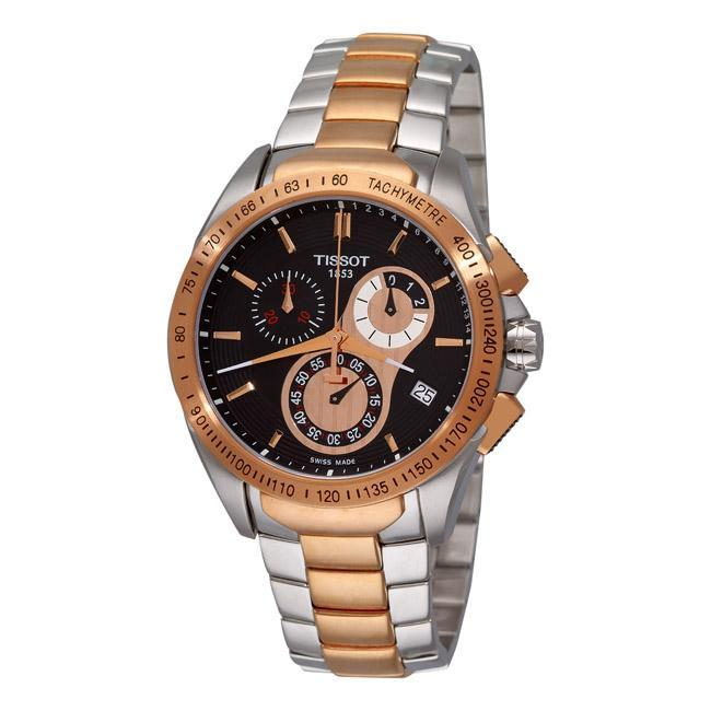 2c63ee479c5 Shop Tissot Men s T0244172205100  Veloci-T  Two-Tone Bracelet Chronograph  Watch - Ships To Canada - Overstock - 5788334