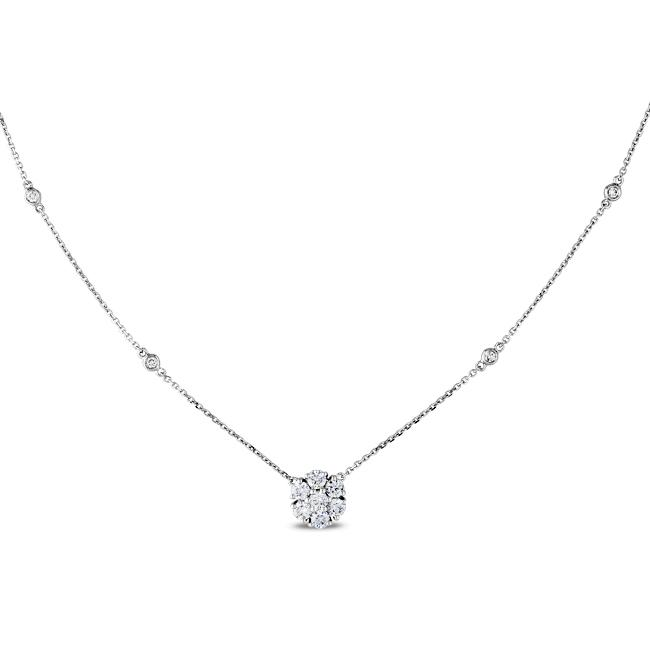 14k White Gold 3/4ct TDW Diamond Flower Necklace