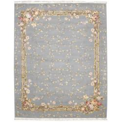 Nourison Hand-knotted Legacy Light Blue Rug (8'6 x 11'6) - Thumbnail 1