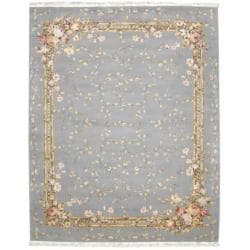 Nourison Hand-knotted Legacy Light Blue Rug (8'6 x 11'6) - Thumbnail 2
