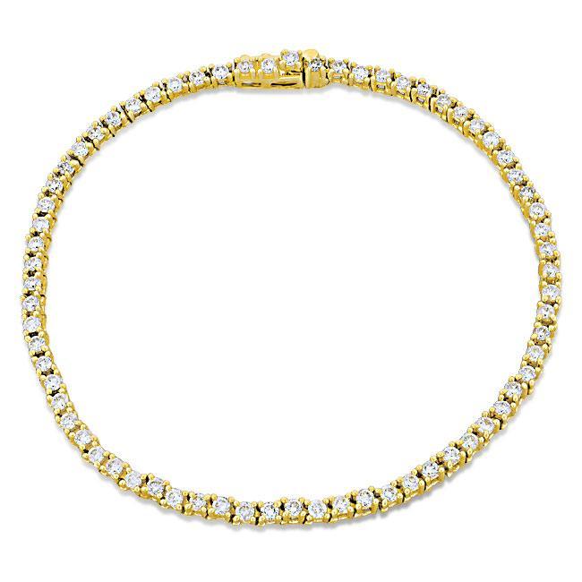 Miadora 14k Yellow Gold 2ct TDW Diamond Tennis Bracelet