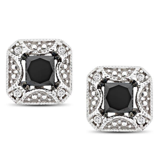 Miadora 10k White Gold 7/8ct TDW Black and White Diamond Earrings
