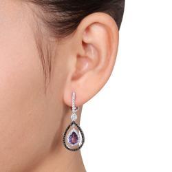 Miadora 14k White Gold Amethyst and Black/ White Diamond Earrings (G-H, SI1-SI2) - Thumbnail 2