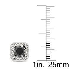 Miadora 10k White Gold 7/8ct TDW Black and White Diamond Earrings - Thumbnail 2