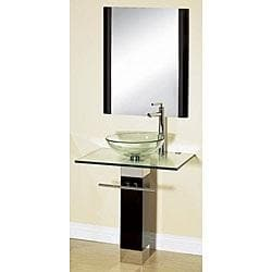 23 Tempered Glass Bathroom Vanity with Wood Pedestal Combo Set