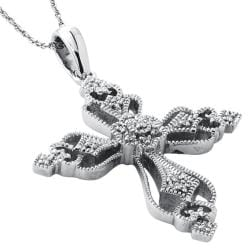 Sterling Silver Diamond Accent Cross Necklace By Ever One - Thumbnail 1