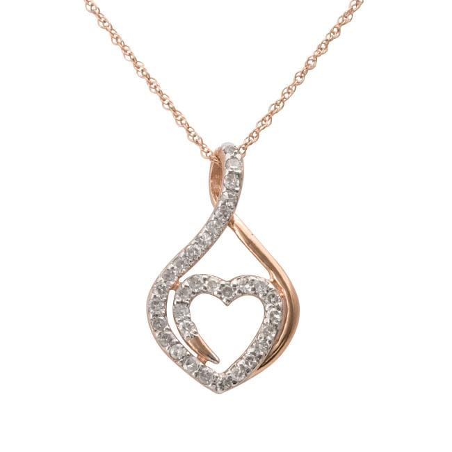 10k Rose Gold 1/4ct TDW Genuine Diamond Heart Necklace (I-J, I2-I3)