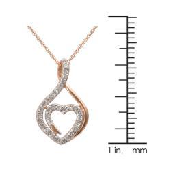 10k Rose Gold 1/4ct TDW Genuine Diamond Heart Necklace (I-J, I2-I3) - Thumbnail 2