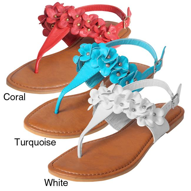 Journee Collection Women's 'Mod-54' Floral Accent Slingback Sandals