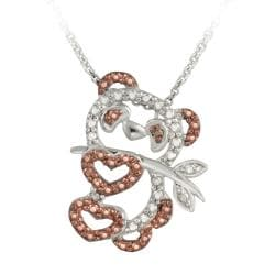 DB Designs Rose Gold over Silver Champagne Diamond Accent Panda Bear Necklace
