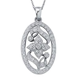 Sterling Silver 1/4ct TDW Diamond Floral Milligrain Necklace By Ever One (H-I, I3)