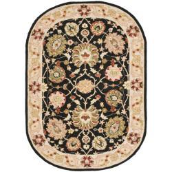 Safavieh Micro Hand-hooked Mahal Black/ Beige Wool Rug (7'6 x 9'6 Oval)