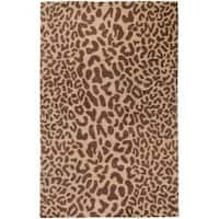 Hand-tufted Tan Leopard Whimsy Animal Print Wool Area Rug (9' x 12')