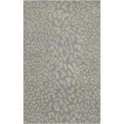 Hand-tufted Pale Blue Leopard Whimsy Animal Print Wool Rug (10' x 14')