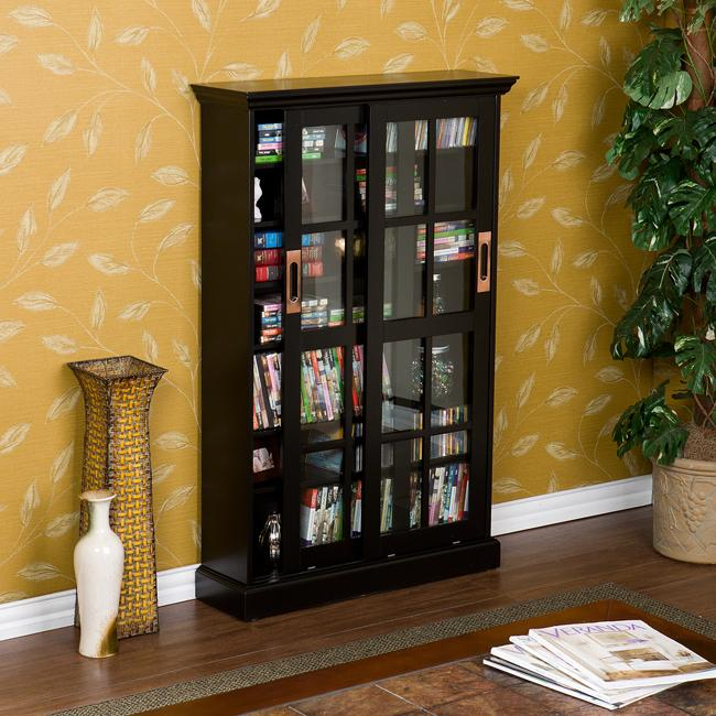 Shop Bronson Black Sliding Door Media Storage Cabinet Free