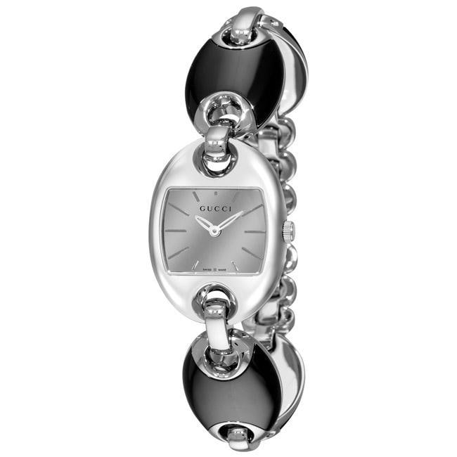 Gucci Women's 'Marina' Mirror Dial Black Ceramic Bracelet Watch