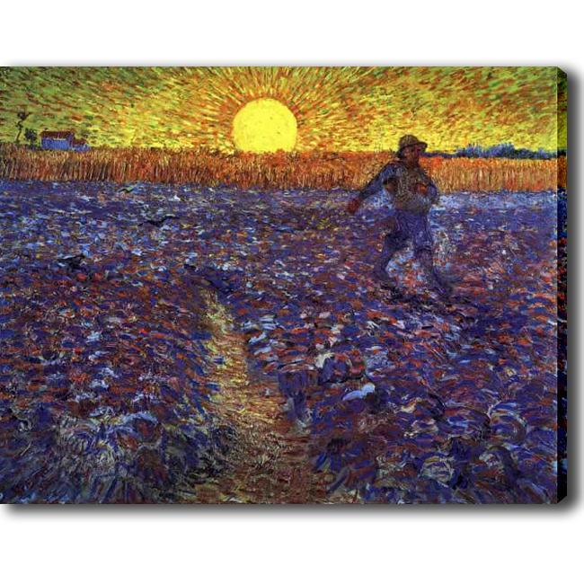 Van Gogh 'Seeding' Giclee Canvas Art