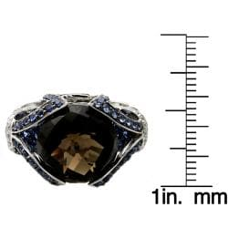 Beverly Hills Charm 14k Gold Smokey Quartz, Sapphire and 2/5ct TDW Diamond Ring