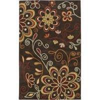 Hand-tufted Whimsy Chocolate Wool Area Rug (6' x 9')