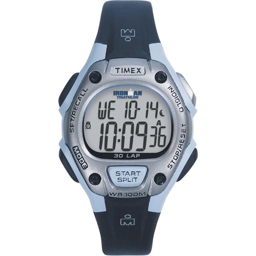 Timex T5E9519J Women's Ironman Traditional 30-lap Black/ Light Blue/ Silvertone Watch