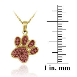 DB Designs 18k Two-tone Gold over Silver Champagne Diamond Paw Necklace