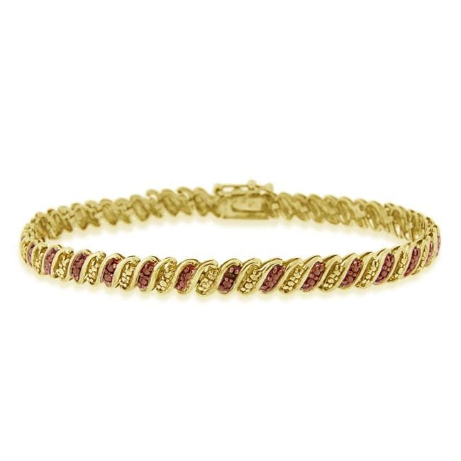 DB Designs 18k Two-tone Gold over Silver Champagne Diamond Tennis Bracelet