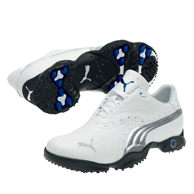 Puma Men's Scramble White/ Silver/ Blue Golf Shoes