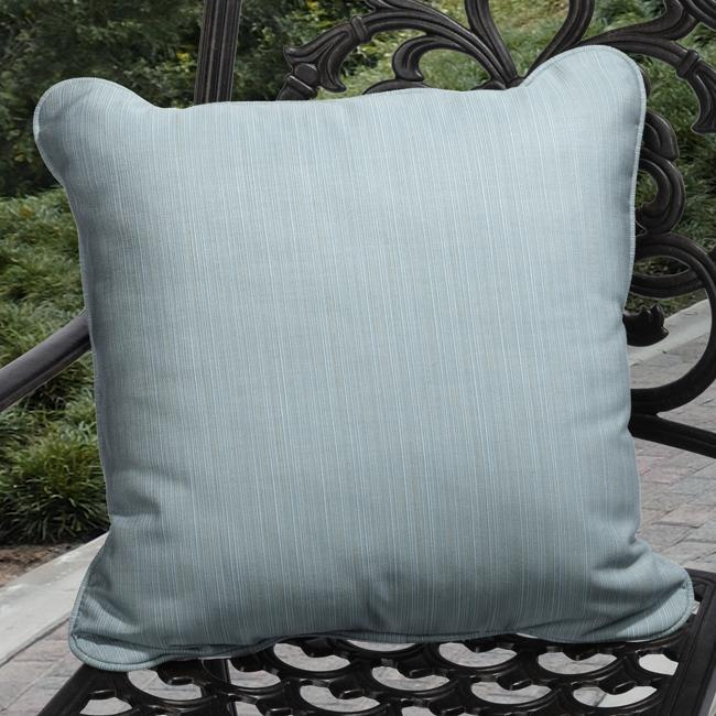 Clara Outdoor Light Blue Throw Pillows Made With Sunbrella