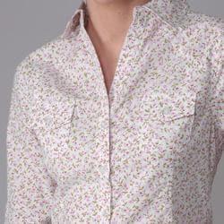 Derek Heart Juniors Cotton Woven Ditzy Print Buttoned Blouse - Thumbnail 2