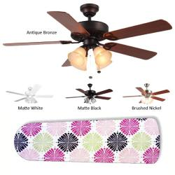 New Image Concepts 4-light 'Ashley' Floral Blade Ceiling Fan