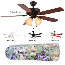 New Image Concepts 4-light Purple Rose Tea Party Blade Ceiling Fan - Thumbnail 2