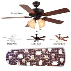New Image Concepts 4-light 'Coffee Talk' Blade Ceiling Fan - Thumbnail 2