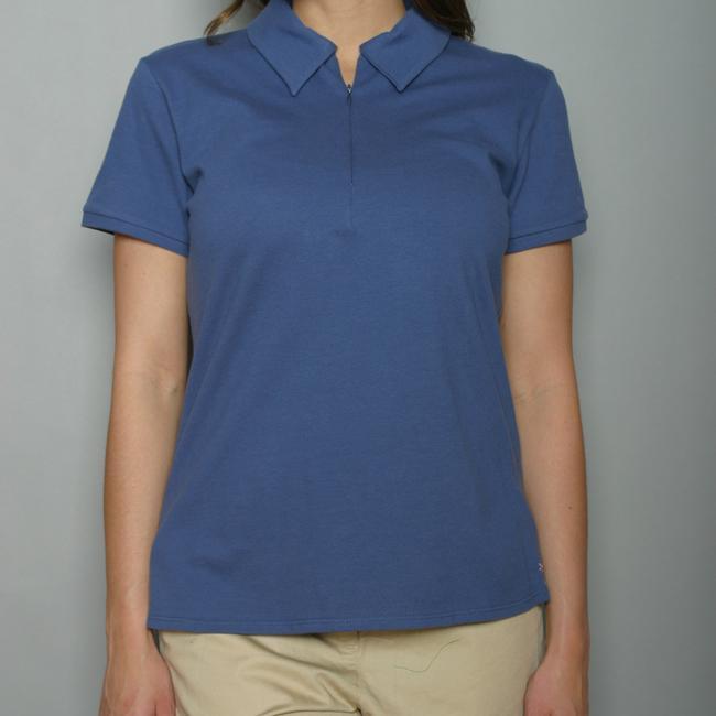 Golftini Women's Blue Zipper Neck Golf Shirt