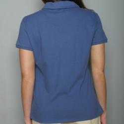 Golftini Women's Blue Zipper Neck Golf Shirt - Thumbnail 2