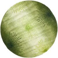 Safavieh Handmade Soho Burst Green New Zealand Wool Rug - 6' x 6' Round