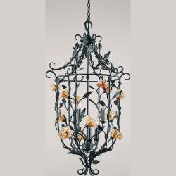 Amber Mist Blacksmith Bronze 6-light Foyer Chandelier - Thumbnail 1