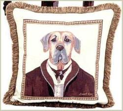 Corona Decor French Woven Sir Dog Jacquard Decorative Pillow