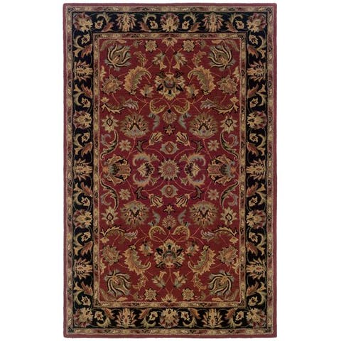 Hand-tufted Red and Black Wool Area Rug (5' x 8') - 5' x 8'
