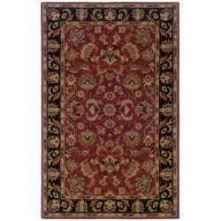 Hand-tufted Red and Black Wool Area Rug (5' x 8')